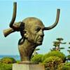 威海 海濱風光 畢加索 雕塑 畢加索銅像攝影 攝影圖片下載