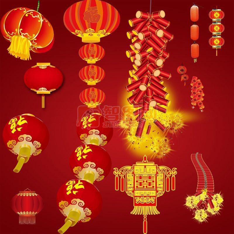 春节大红喜庆灯笼