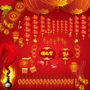 春节串串红灯笼
