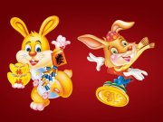 迎春抱财兔子