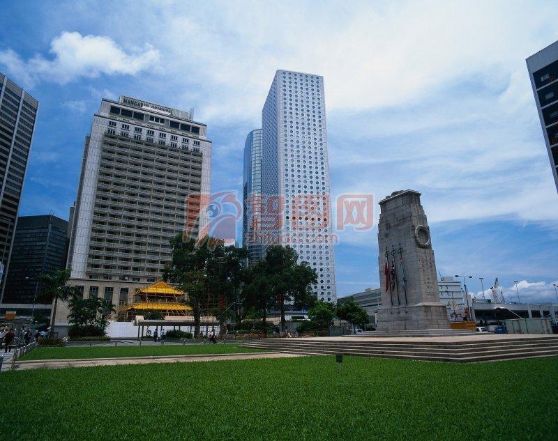 香港城市建筑草坪摄影