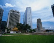 香港城市建筑草坪攝影