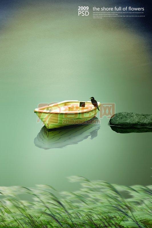 荷塘渔船 钓鱼郎 水中芦苇