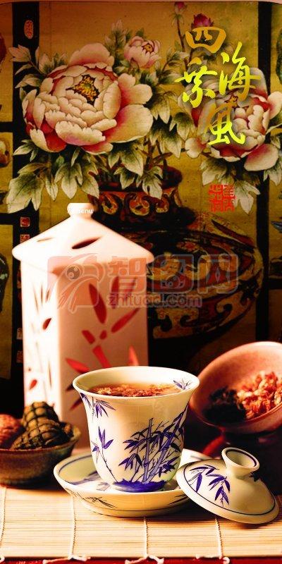 清新茶文化 牡丹畫背景