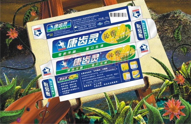 天然草本植物牙膏包裝