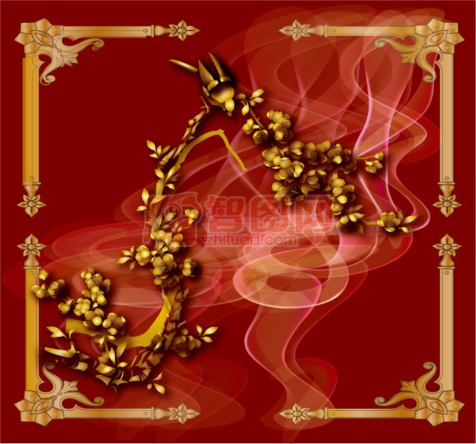 金色花紋設計