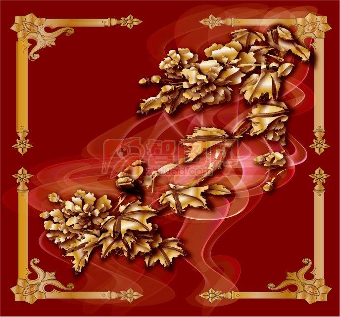 金色花紋邊框