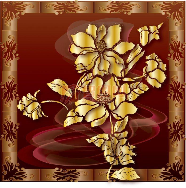 金色奢華花紋邊框