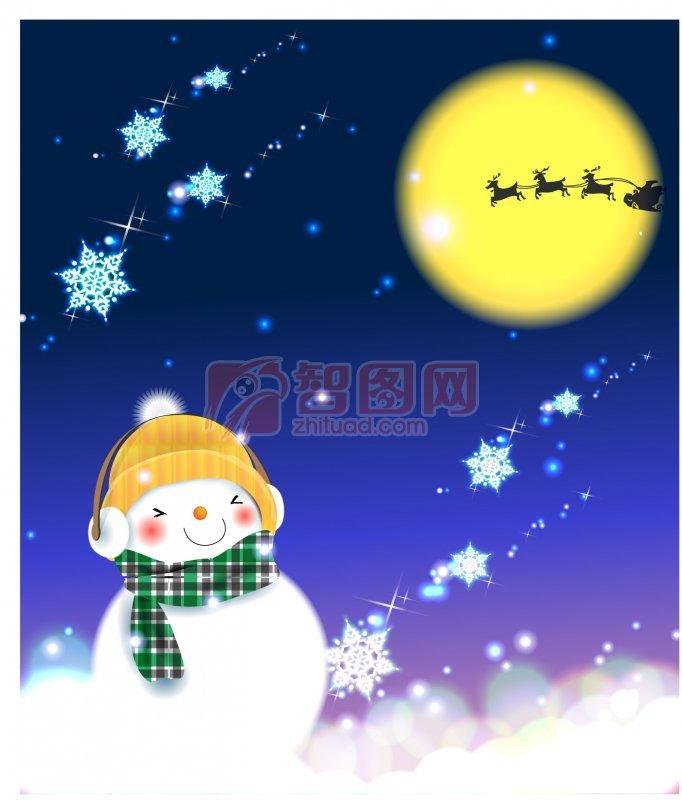 金色月亮 卡通雪人 白色雪地