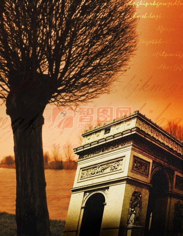 棕色主题 欧式 欧式风格海报 文化素材 欧式意境元素 说明:-凯旋门