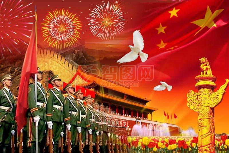 天安门庄严庆国庆节