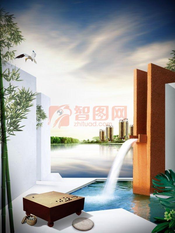 房地产海报设计 创意海报设计 天空背景 说明:-房地产海报设计模板