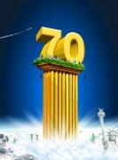 藍色背景海報設計素材——70雕塑