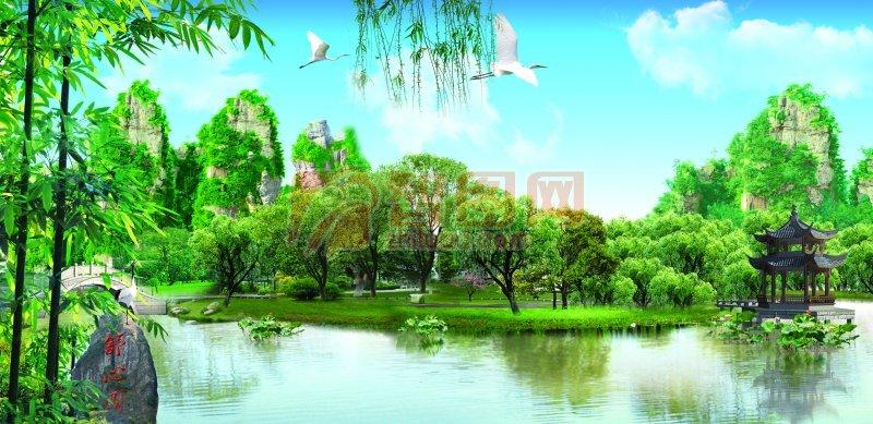 风景 优美风景 春天风景海报 蓝天绿草地风景海报 自然风景元素 自然