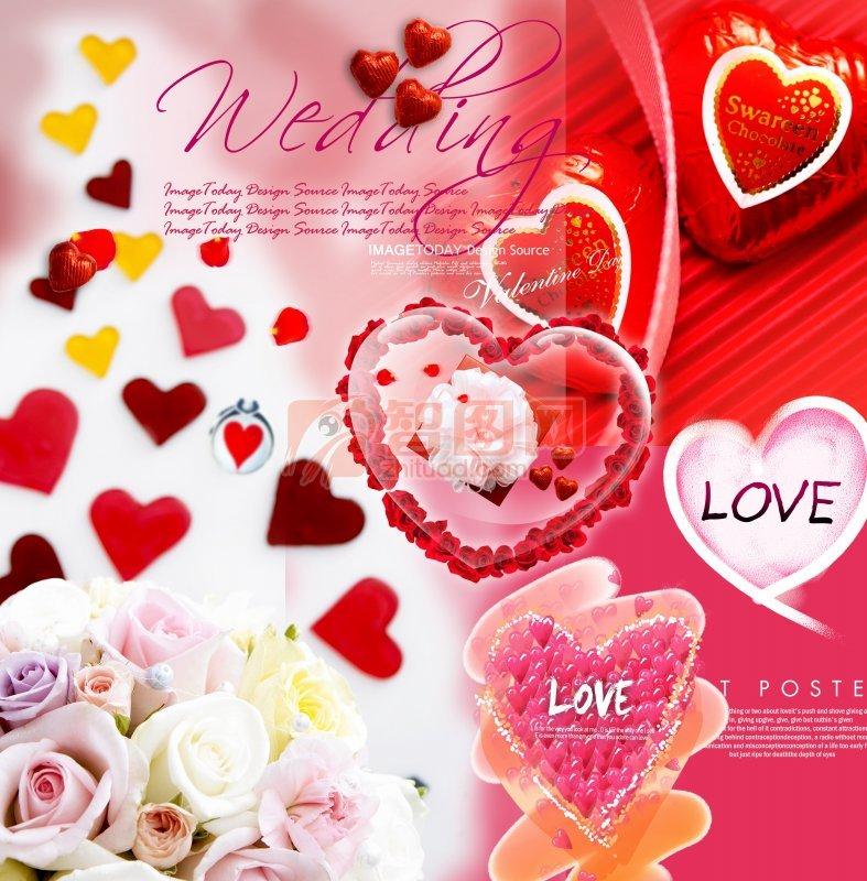 红色爱心花朵海报
