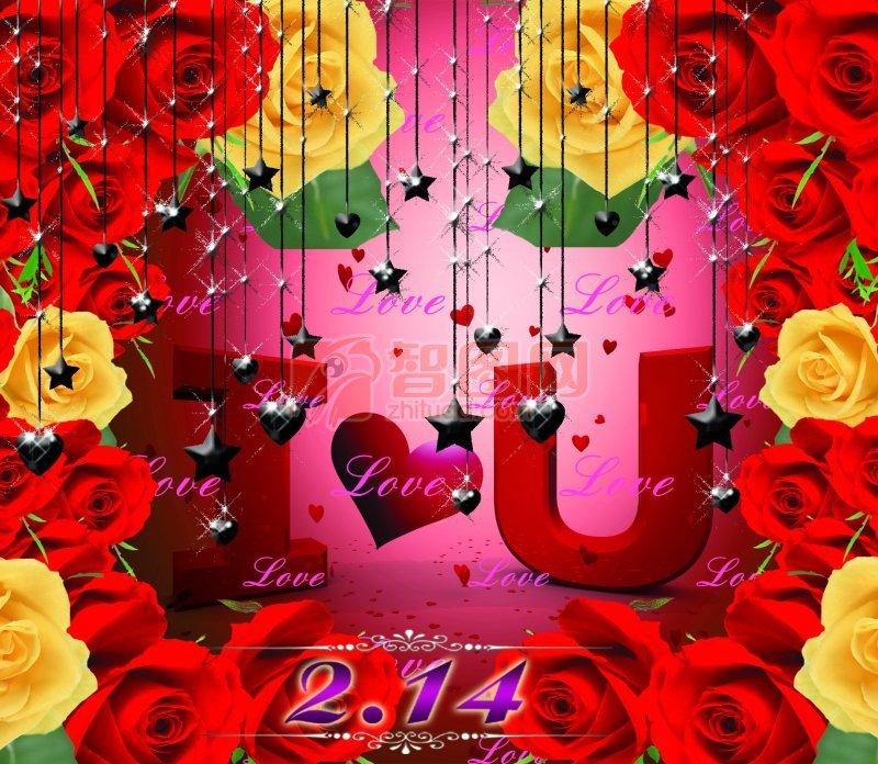 红色背景玫瑰花海报