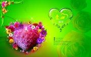 绿色背景 花朵爱心海报