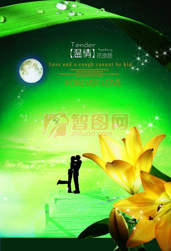百合花 接吻情侣海报