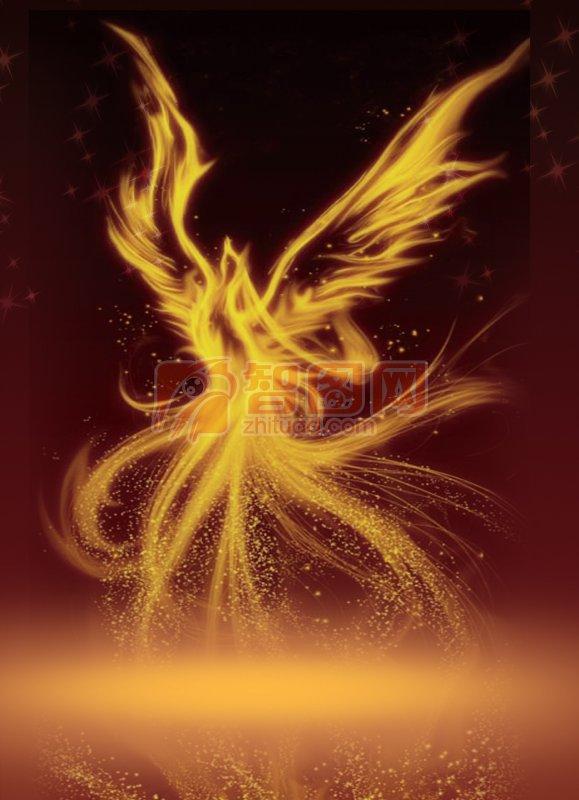 浴火凤凰——黄黑渐变色背景海报设计素材