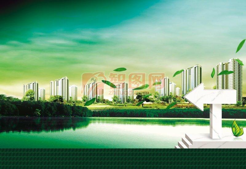 广告海报背景设计素材 背景素材 天空背景 蓝色天空 云朵 现代建筑