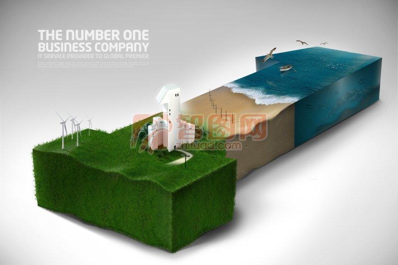 环保素材商务海报设计模版