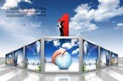 天空元素商務海報設計