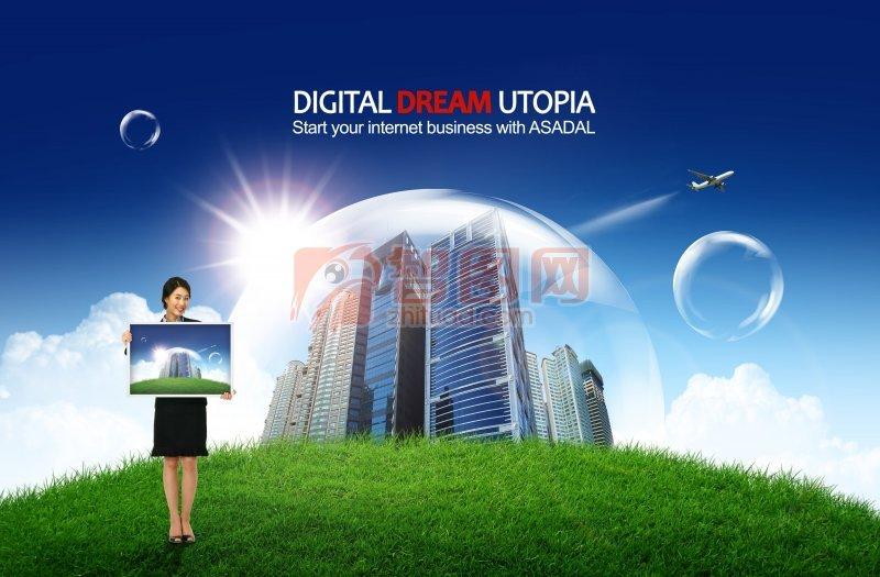 企业 企业文化广告创意 商务 梦想商务 商务创意海报素材 说明:-梦想