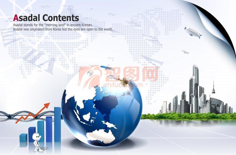 世界版图 世界之窗 我们与世界 英文字母 红色箭头 飞机直达 蓝色地球