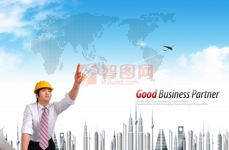 宣传海报 飞机 航空公司 建筑精英 城市建筑 英文字母 世界版图 科技
