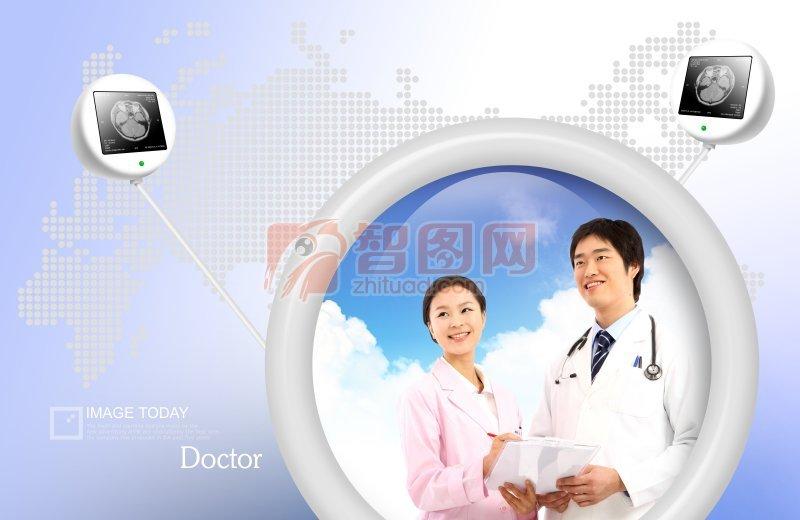 正版图片 全站图片 关键词: 医院相册素材 女医生 男医生 圆 圆形图案