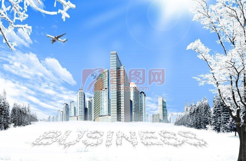 冬天的雪景素材海报