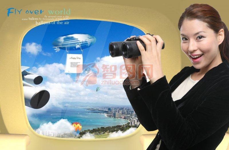 首页 ps分层专区 广告设计 海报设计  关键词: 职场女性 坐在飞机上的