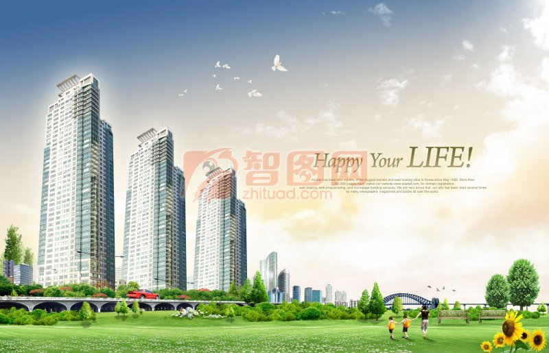 現代建筑背景海報