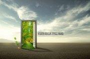 绿色门元素海报