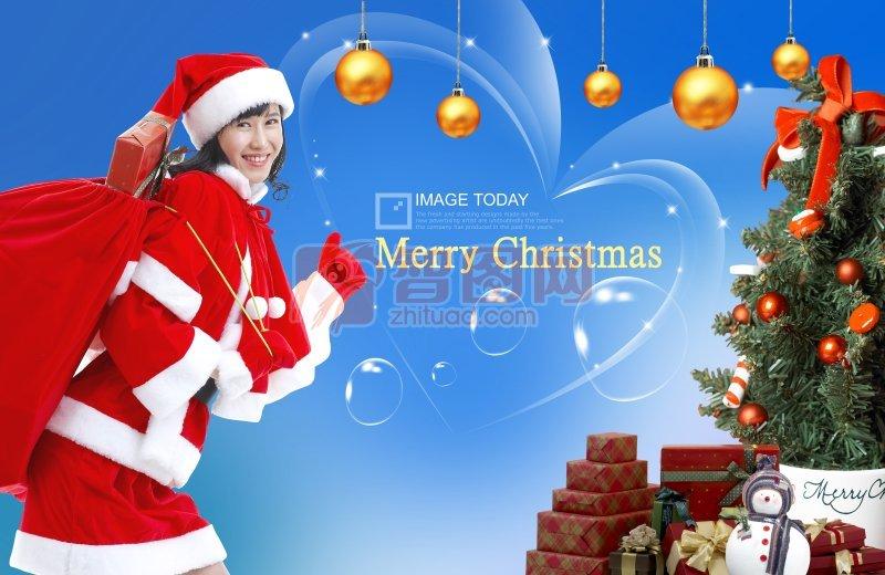 圣诞节女生海报设计
