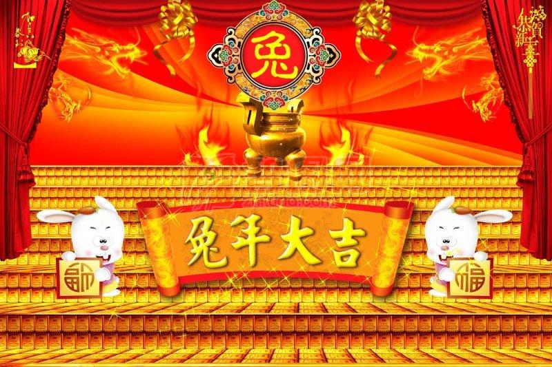 兔年设计背景 拉开的红色帷幕典