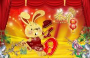 新年绽放的烟花背景 喜庆兔子