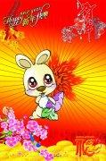 红色渐变线条背景 兔子抱萝卜