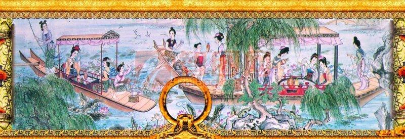 劃船的古典人物素材