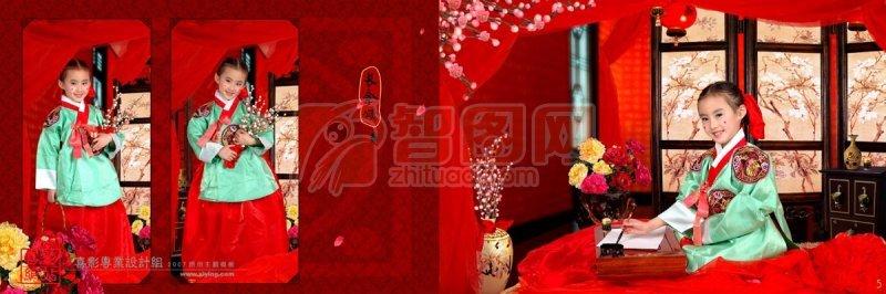 韓式風格背景花紋素材