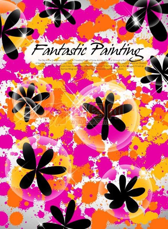 黑色花朵花紋設計