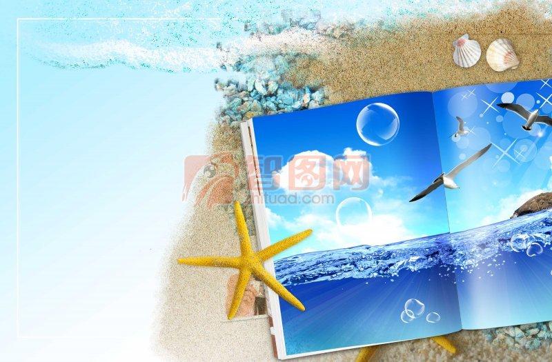 海邊花紋設計素材