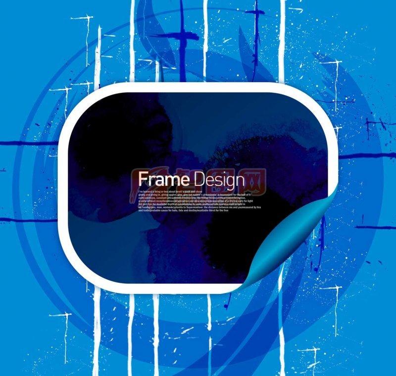 边框元素 白色素材 深蓝色元素
