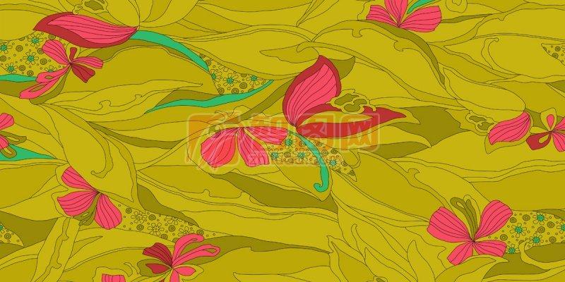 黄色花纹背景
