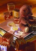 小熊玩具 字母積木 卡通畫 卡通小熊