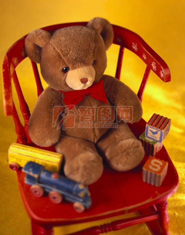小熊玩具 红色餐 儿童玩具