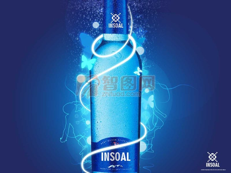广告设计 海报设计  关键词: 蓝色酒瓶 蓝色发光的酒瓶 蝴蝶元素 蓝色