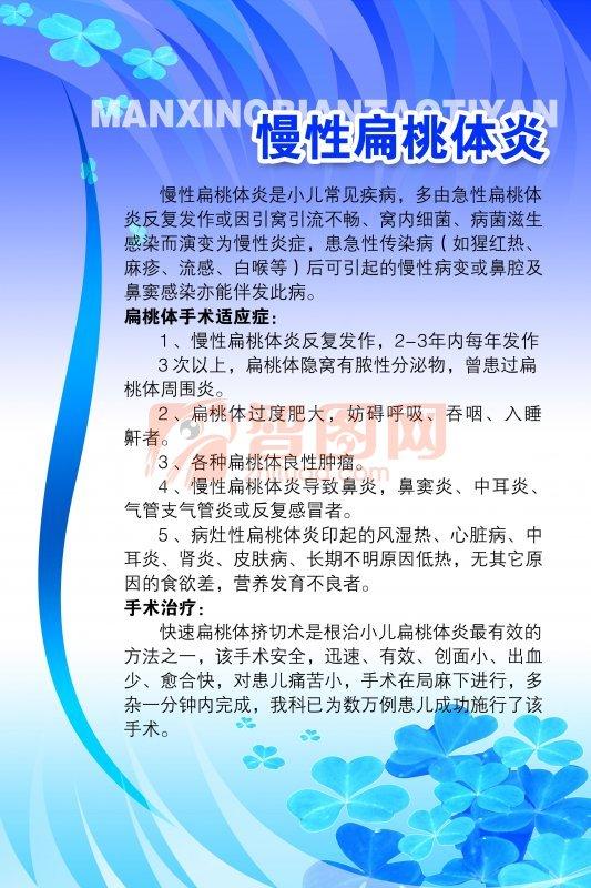 慢性扁桃体炎知识展板