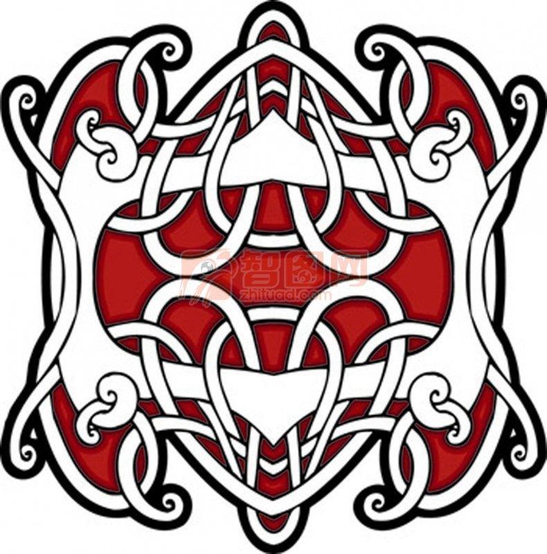 红色装饰花纹元素
