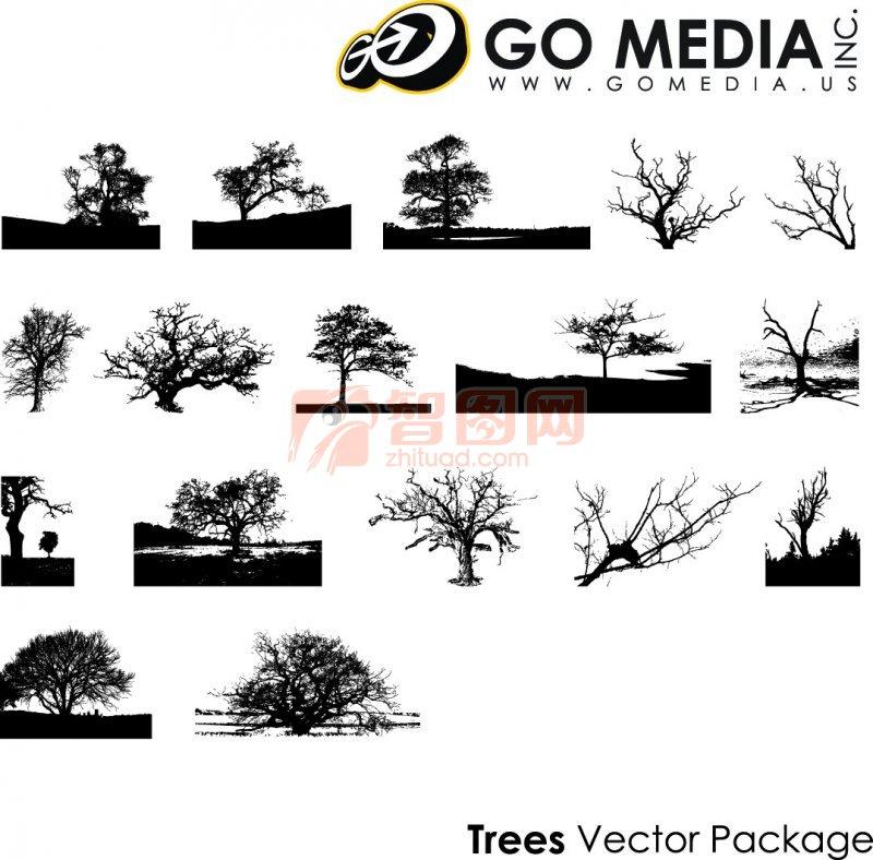 绘画  关键词: 树木展示 美术元素 黑色线条 白色背景 美术树木素材